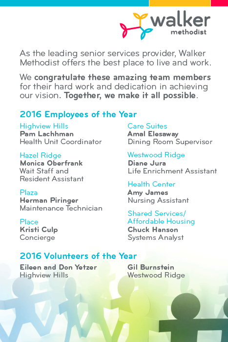 Walker Methodist 2016 Employees & Volunteers of the Year